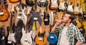 Man at guitar convention