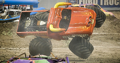 monster truck crushing cars